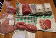 an array of meat from the farm shop